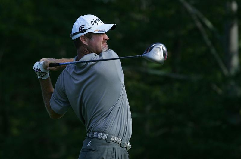 NORTON, MA - SEPTEMBER 06:  Jerry Kelly hits his drive on the 14th hole during the third round of the Deutsche Bank Championship at TPC Boston held on September 6, 2009 in Norton, Massachusetts.  (Photo by Michael Cohen/Getty Images)