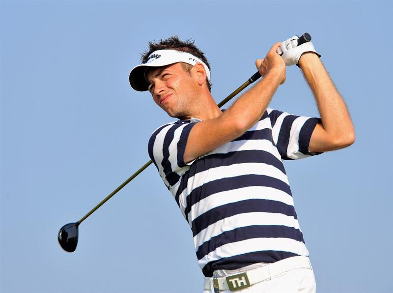 PARIS - JULY 02:  Nick Dougherty of England plays his tee shot on the 14th hole during the first round of the Open de France ALSTOM at the Le Golf National Golf Club on July 2, 2009 in Versailles, France.  (Photo by Stuart Franklin/Getty Images)