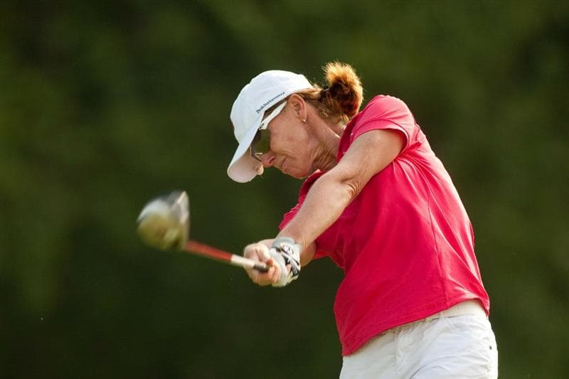 SPRINGFIELD, IL - JUNE 11: Helen Alfredsson of Sweden follows through on a tee shot during the second round of the LPGA State Farm Classic at Panther Creek Country Club on June 11, 2010 in Springfield, Illinois. (Photo by Darren Carroll/Getty Images)