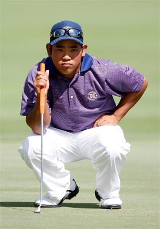 HONOLULU - JANUARY 17:  Tadd Fujikawa looks over a putt for birdie on the 16th hole during the third round of the Sony Open at Waialae Country Club on January 17, 2009 in Honolulu, Hawaii.  (Photo by Sam Greenwood/Getty Images)