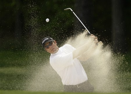 GLEN ALLEN, VA - APRIL 25:  Aaron Wright blasts out of a sand trap onto the 13th green during the second round of the Henrico County Open of the Nationwide Tour at The Dominion Club April 25, 2008 in Glen Allen, Virginia. (Photo by Chris Gardner/Getty Images)