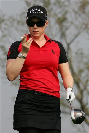 INCHEON, SOUTH KOREA - OCTOBER 30:  Morgan Pressel of United States reacts after her teeshot in the 6th hole during round one of Hana Bank Kolon Championship at Sky 72 Golf Club on October 30, 2009 in Incheon, South Korea.  (Photo by Chung Sung-Jun/Getty Images)