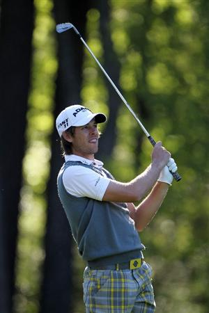AUGUSTA, GA - APRIL 06:  Aaron Baddeley of Australia watches a shot during a practice round prior to the 2011 Masters Tournament at Augusta National Golf Club on April 6, 2011 in Augusta, Georgia.  (Photo by Jamie Squire/Getty Images)