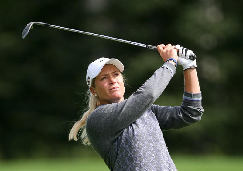 CALGARY, AB - SEPTEMBER 04 : Suzann Pettersen of Norway hits her third shot on the ninth hole during the second round of the Canadian Women's Open at Priddis Greens Golf & Country Club on September 4, 2009 in Calgary, Alberta, Canada. (Photo by Hunter Martin/Getty Images)