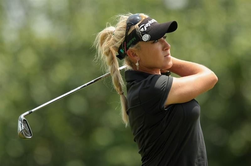 SINGAPORE - FEBRUARY 27:  Natalie Gulbis of the USA watches her approach shot on the 13th hole during the final round of the HSBC Women's Champions 2011 at the Tanah Merah Country Club on February 27, 2011 in Singapore, Singapore.  (Photo by Scott Halleran/Getty Images)