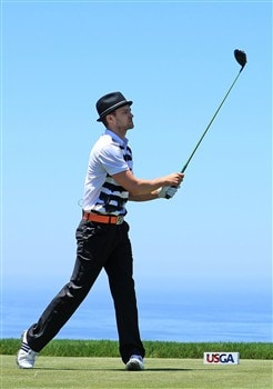 LA JOLLA, CA - JUNE 06:  Justin Timberlake hits a shot during the Golf Digest U.S. Open Challenge at the Torrey Pines Golf Course on June 6, 2008 in La Jolla, California.  (Photo by Scott Halleran/Getty Images)