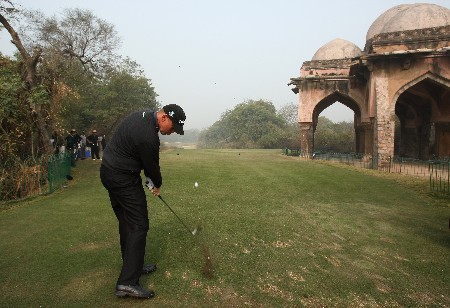 NEW DELHI, INDIA - FEBRUARY 06:  Thomas Bjorn of Denmark plays a tee shot during the Pro - Am at the Emaar-MGF Indian Masters at the Delhi Golf Club on February 6, 2008 in Delhi, India.  (Photo by Stuart Franklin/Getty Images)