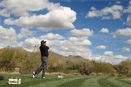 MARANA, AZ - FEBRUARY 21:  Angel Cabrera of Argentina watches his tee shot on the 14th hole during the second round matches of the WGC-Accenture Match Play Championship at The Gallery at Dove Mountain on February 21, 2008 in Marana, Arizona.  (Photo by Scott Halleran/Getty Images)