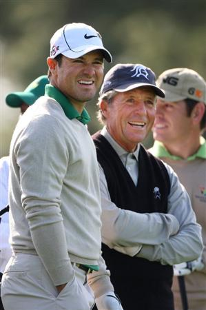 AUGUSTA, GA - APRIL 06:  Trevor Immelman and Gary Player of South Africa share a laugh during a practice round prior to the 2009 Masters Tournament at Augusta National Golf Club on April 6, 2009 in Augusta, Georgia.  (Photo by Andrew Redington/Getty Images)