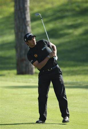 GIRONA, SPAIN - APRIL 30:  Pablo Larrazabal of Spain reacts to his second shot into the 17th green during the first round of the Open de Espana at the PGA Golf Catalunya on April 30, 2009 in Girona, Spain.  (Photo by Warren Little/Getty Images)