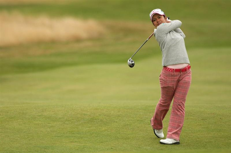 LYTHAM ST ANNES, ENGLAND - JULY 31:  Ai Miyazato of Japan hits an approach shot during the second round of the 2009 Ricoh Women's British Open Championship held at Royal Lytham St Annes Golf Club, on July 31, 2009 in  Lytham St Annes, England.  (Photo by Warren Little/Getty Images)