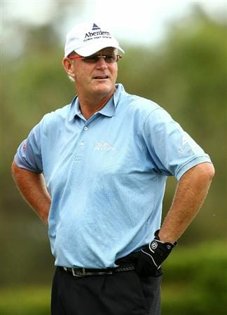 PERTH, AUSTRALIA - NOVEMBER 21:  Sandy Lyle of Scotland looks on while waiting on the 8th hole during day three of the 2010 Australian Senior Open at Royal Perth Golf Club on November 21, 2010 in Perth, Australia.  (Photo by Paul Kane/Getty Images)
