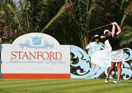 AVENTURA, FL - APRIL 24:  Morgan Pressel hits a tee shot in the first round of the Stanford International Pro-Am at Fairmont Turnberry Isle Resort & Club April 24, 2008 in Aventura, Florida.  (Photo by Doug Benc/Getty Images)