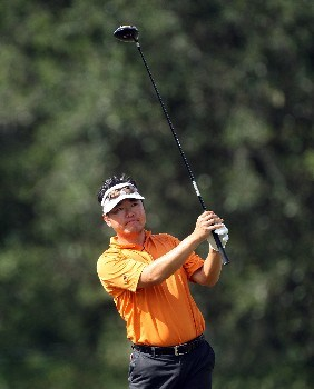 ORLANDO, FLORIDA - NOVEMBER 01:  Charlie Wi hits his tee shot from the 9th tee on the Magnolia Course during the first round of The Childrens Miracle Network Classic held on the Palm and Magnolia Courses at The Disney Shades of Green Resort, on November 1, 2007 in Orlando, Florida,  (Photo by David Cannon/Getty Images)
