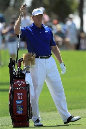ORLANDO, FL - MARCH 24:  Ernie Els of South Africa plays his second shot at the 1st hole during the first round of the 2011 Arnold Palmer Invitational presented by Mastercard at the Bay Hill Lodge and Country Club on March 24, 2011 in Orlando, Florida.  (Photo by David Cannon/Getty Images)