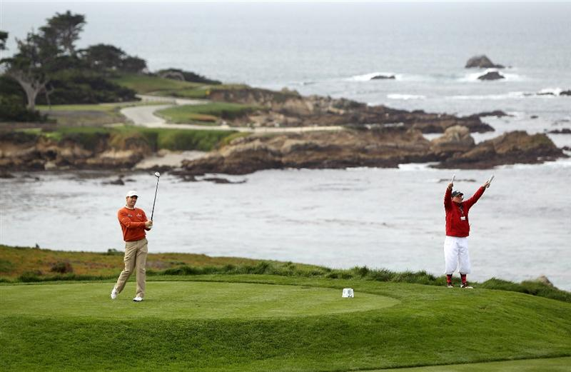 PEBBLE BEACH, CA - FEBRUARY 11:  Padraig Harrington of Ireland tees off on the fourth hole during the first round of the AT&T Pebble Beach National Pro-Am at at the Spyglass Hill Golf Course on February 11, 2010 in Pebble Beach, California.  (Photo by Ezra Shaw/Getty Images)