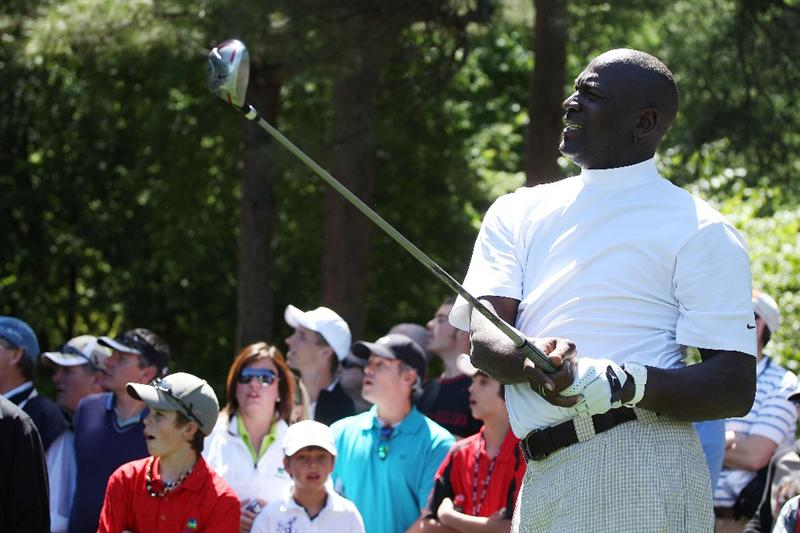 CHARLOTTE, NC - APRIL 28:  Basketball legend Michael Jordan watches a shot during the pro am prior to the start of the 2010 Quail Hollow Championship at the Quail Hollow Club on April 28, 2010 in Charlotte, North Carolina.  (Photo by Scott Halleran/Getty Images)