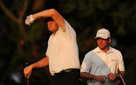 OAKVILLE, ON - JULY 26:  Steve Marino (left) looks at his tee shot on the 12th hole as Nicholas Thompson looks on during the third round of the RBC Canadian Open at the Glen Abbey Golf Club on July 26, 2008 in Oakville, Ontario, Canada.  (Photo by Robert Laberge/Getty Images)