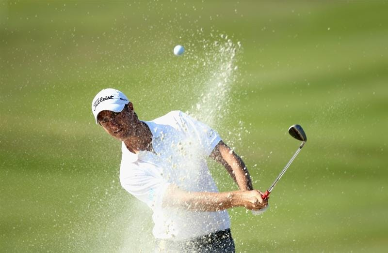 CASARES, SPAIN - MAY 22:  Nicolas Colsaerts of Belgium in action during the semi final of the Volvo World Match Play Championship at Finca Cortesin on May 22, 2011 in Casares, Spain.  (Photo by Warren Little/Getty Images)