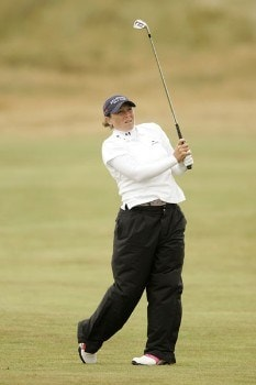 Karen Stupples watches her approach shot to the green during the first round of the 2005 Weetabix Women's British Open at the Royal Birkdale Golf Club. July 28, 2005Photo by Pete Fontaine/WireImage.com
