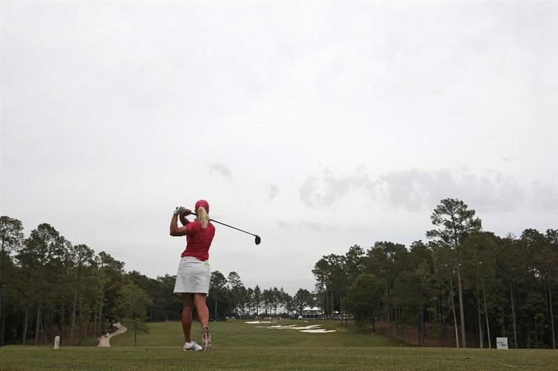 MOBILE, AL - MAY 15:  Suzann Pettersen of Norway hits her drive on the 18th hole during third round play in the Bell Micro LPGA Classic at the Magnolia Grove Golf Course on May 15, 2010 in Mobile, Alabama.  (Photo by Dave Martin/Getty Images)