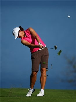 EVIAN, FRANCE - JULY 24:  Spohie Gustafson of Sweden hits her second shot on the fifth hole during the first round of the Evian Masters at the Evian Masters Golf Club on July 24, 2008 in Evian, France.  (Photo by Andrew Redington/Getty Images)