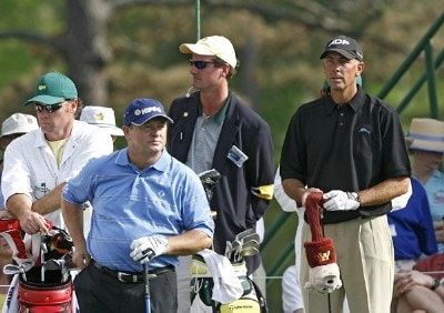 Ian Woosnam and Tom Lehman during the second round of the 2006 Masters at the Augusta National Golf Club in Augusta, Georgia on April 7, 2006.Photo by Hunter Martin/WireImage.com