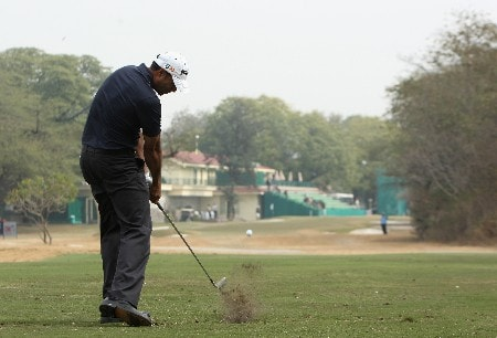 NEW DELHI, INDIA - FEBRUARY 07:  Arjun Atwal of India plays his tee shot on the fifth hole during the first round of the Emaar-MGF Indian Masters at the Delhi Golf Club on February 7, 2008 in Delhi, India.  (Photo by Stuart Franklin/Getty Images)