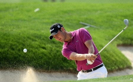DUBAI, UNITED ARAB EMIRATES - FEBRUARY 03:  Martin Kaymer of Germany hits his third shot at the 6th hole during the final round of the Dubai Desert Classic, on the Majilis Course at the Emirates Golf Club, on February 3, 2008 in Dubai, United Arab Emirates.  (Photo by David Cannon/Getty Images)