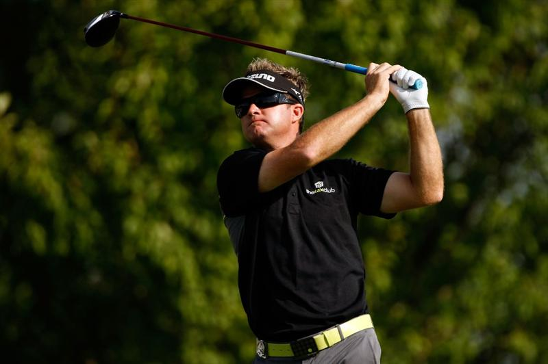 CHASKA, MN - AUGUST 13:  Brian Gay watches his tee shot on the third hole during the first round of the 91st PGA Championship at Hazeltine National Golf Club on August 13, 2009 in Chaska, Minnesota.  (Photo by Streeter Lecka/Getty Images)