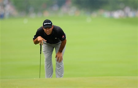 OAKVILLE, ON - JULY 26:  Cliff Kresge attempts a putt on the first hole during the third round of the RBC Canadian Open at the Glen Abbey Golf Club on July 26, 2008 in Oakville, Ontario, Canada.  (Photo by Robert Laberge/Getty Images)