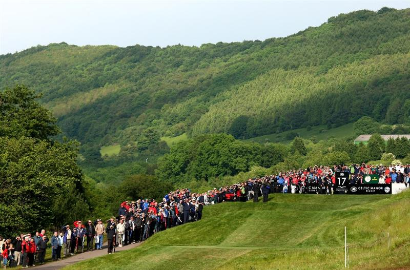 NEWPORT, WALES - JUNE 07:  Jeppe Huldahl of Denmark tee's off at the 17th during the final round of the Celtic Manor Wales Open on the 2010 Course at The Celtic Manor Resort on June 7, 2009 in Newport, Wales.  (Photo by Richard Heathcote/Getty Images)