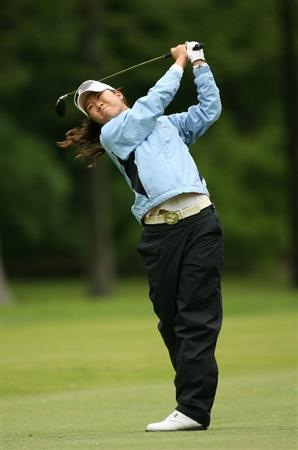 CLIFTON, NJ - MAY 17: Ji Young Oh of South Korea hits her second shot on the 5th hole during the final round of the Sybase Classic presented by ShopRite at Upper Montclair Country Club on May 17, 2009 in Clifton, New Jersey. (Photo by Hunter Martin/Getty Images)