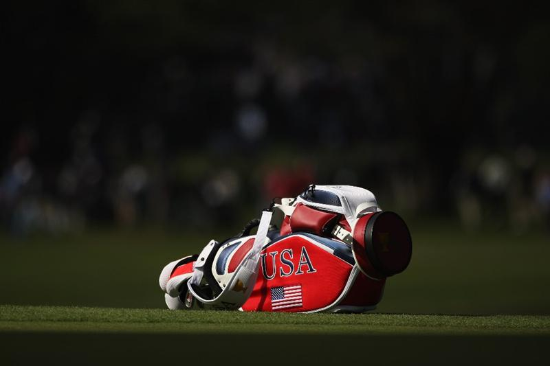 SAN FRANCISCO - OCTOBER 08:  The bag of Tiger Woods of the USA Team is pictured during the Day One Foursome Matches of The Presidents Cup at Harding Park Golf Course on October 8, 2009 in San Francisco, California.  (Photo by Warren Little/Getty Images)