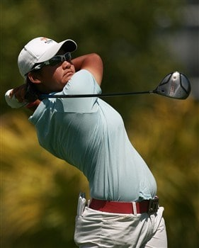 AVENTURA, FL - APRIL 24:  Yani Tseng of Taiwan hits a tee shot in the first round of the Stanford International Pro-Am at Fairmont Turnberry Isle Resort & Club April 24, 2008 in Aventura, Florida.  (Photo by Doug Benc/Getty Images)