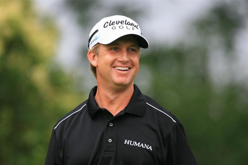 FORT WORTH, TX - MAY 20: David Toms smiles as he walks off the 12th tee during the second round of the Crowne Plaza Invitational at Colonial Country Club on May 20, 2011 in Fort Worth, Texas. (Photo by Hunter Martin/Getty Images)