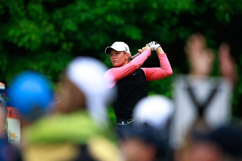 GLADSTONE, NJ - MAY 22:  Suzann Pettersen of Norway hits her tee shot on the sixth hole during her match against Cristie Kerr in the final of the Sybase Match Play Championship at Hamilton Farm Golf Club on May 22, 2011 in Gladstone, New Jersey.  (Photo by Chris Trotman/Getty Images)