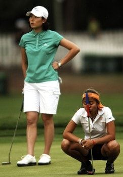 Shi Hyun Ahn and Jennifer Rosales in action during the second round of the 2005 U.S. Women's Open at Cherry Hills Country Club in Englewood, Colorado, June 24, 2005.Photo by Steve Grayson/WireImage.com
