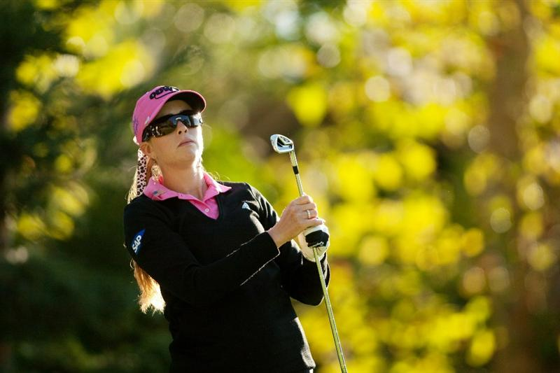 DANVILLE, CA - OCTOBER 15: Paula Creamer watches a tee shot during the second round of the CVS/Pharmacy LPGA Challenge at Blackhawk Country Club on October 15, 2010 in Danville, California. (Photo by Darren Carroll/Getty Images)