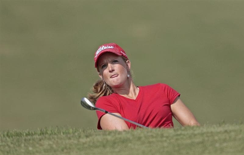 PRATTVILLE, AL - SEPTEMBER 26:  Anna Grzebien watches her chip to the 1st green during second round play in the Navistar LPGA Classic at the Robert Trent Jones Golf Trail at Capitol Hill on September 26, 2008 in Prattville, Alabama.  (Photo by Dave Martin/Getty Images)