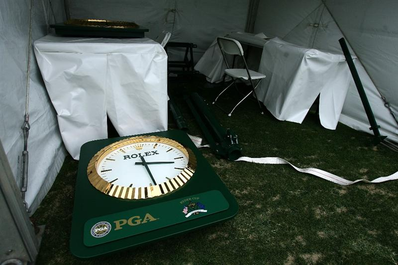 LOUISVILLE, KY - SEPTEMBER 14:  A Rolex clock lays on the ground in the starter's tent during high winds prior to the 37th Ryder Cup at Valhalla Golf Club on September 14, 2008 in Louisville, Kentucky.  (Photo by Andy Lyons/Getty Images)