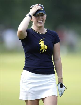 SYLVANIA, OH - JULY 05:  Morgan Pressel reacts after making eagle from the 17 fairway during the final round of the Jamie Farr Owens Corning Classic at Highland Meadows Golf Club on July 5, 2009 in Sylvania, Ohio. Pressel lost in a playoff to Eunjung Yi.  (Photo by Gregory Shamus/Getty Images)