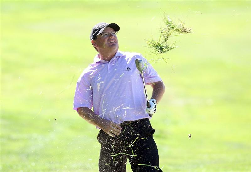CHRISTCHURCH, NEW ZEALAND - MARCH 08:  Gavin Coles of Australia plays the ball from the rough during day four of the New Zealand PGA Championship at the Clearwater Golf Club on March 8, 2009 in Christchurch, New Zealand.  (Photo by Marty Melville/Getty Images)