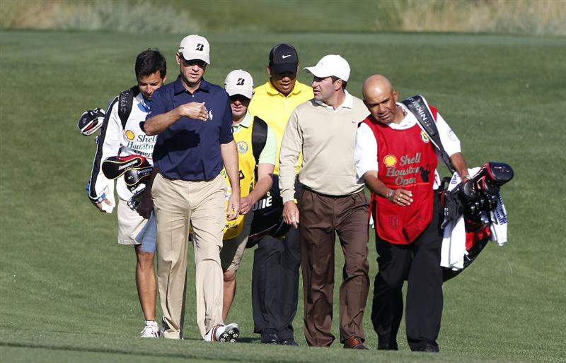 HUMBLE, TX - MARCH 31: 2012 Ryder Cup captains Davis Love III of the United States and Jose Maria Olazabal of Spain walk on the fairway during the first round of the Shell Houston Open at Redstone Golf Club on March 31, 2011 in Humble, Texas.  (Photo by Michael Cohen/Getty Images)