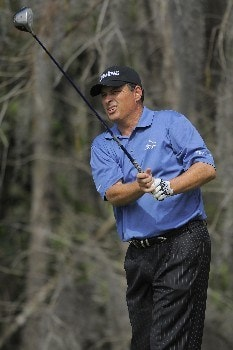 NAPLES, FL - FEBRUARY 17: Loren Roberts tees off on the third hole during the final round of the ACE Group Classic at Quail West February 17, 2008 in Naples, Florida. (Photo by Scott A. Miller/Getty Images)