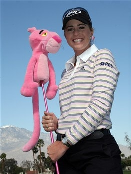 RANCHO MIRAGE, CA - APRIL 02:  Paula Creamer of the USA poses with her 'Pink Panther' 3 wood on the 5th hole during the pro-am preview for the Kraft Nabisco Championship at the Mission Hills Country Club, on April 2, 2008 in Rancho Mirage, California.  (Photo by David Cannon/Getty Images)