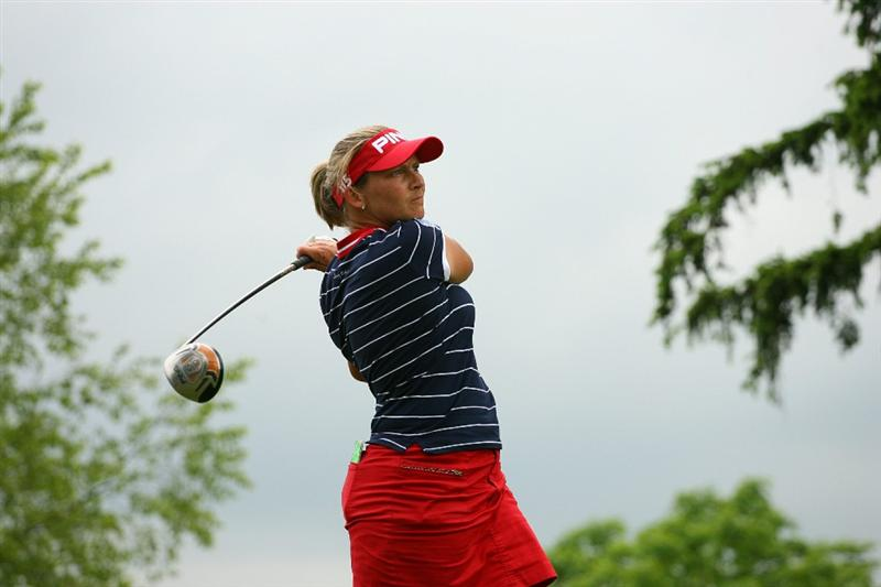GLADSTONE, NJ - MAY 23: Angela Stanford hits her tee shot on the tenth hole during the final round of the Sybase Match Play Championship at Hamilton Farm Golf Club on May 23, 2010 in Gladstone, New Jersey. (Photo by Hunter Martin/Getty Images)
