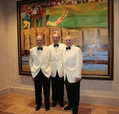 Pete Dye, Jerry Pate and Deane Beman pose in front of an oil painting in the new clubhouse by Dallas illustrator Bart Forbes depicting the moment after Jerry's victory in 1982 when he threw Dye and Beman into the lake before jumping in himself during of THE PLAYERS Championship at TPC Sawgrass in Ponte Vedra Beach, Florida, on May 8, 2007. Photo by: Caryn Levy/PGA TOURPhoto by: Caryn Levy/PGA TOUR