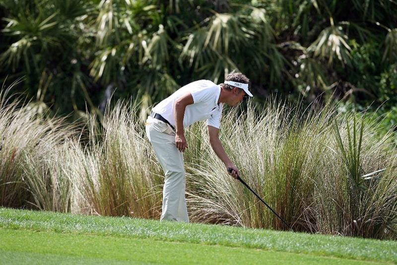 PALM BEACH GARDENS, FL - MARCH 08:  Fredrick Jacobson of Sweden looks in a hazard for his ball on the sixth hole during the final round of The Honda Classic at PGA National Resort and Spa on March 8, 2009 in Palm Beach Gardens, Florida.  (Photo by Doug Benc/Getty Images)