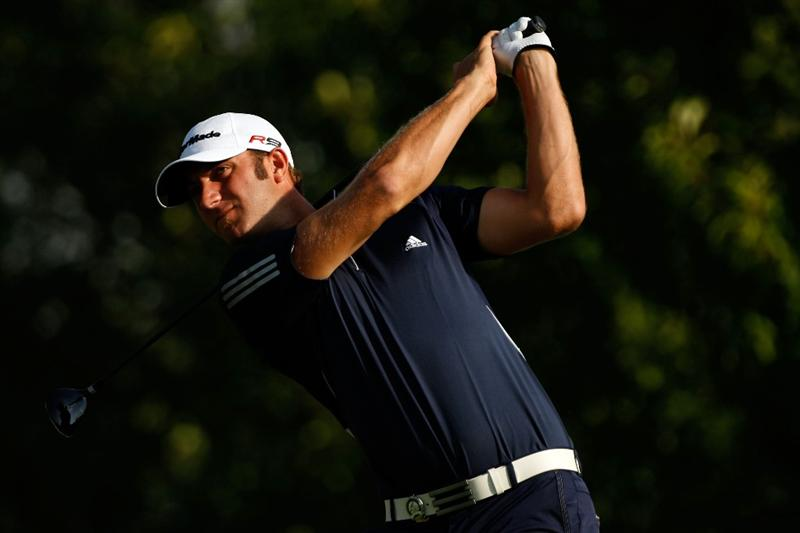 CHASKA, MN - AUGUST 13:  Dustin Johnson watches his tee shot on the third hole during the first round of the 91st PGA Championship at Hazeltine National Golf Club on August 13, 2009 in Chaska, Minnesota.  (Photo by Streeter Lecka/Getty Images)